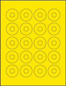 "Sheet of 1.57"" Center Hub True Yellow labels"