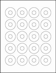 "Sheet of 1.57"" Center Hub Aggressive White Matte labels"