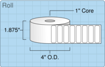 """Roll of 1.75"""" x 0.5""""  Thermal  labels"""