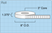"""Roll of 1.25"""" x 0.62""""  Thermal  labels"""