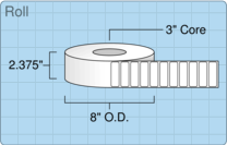"""Roll of 2.25"""" x 0.75""""  Thermal  labels"""