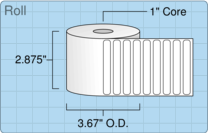 "Roll of 2.75"" x 0.375""  Thermal  labels"