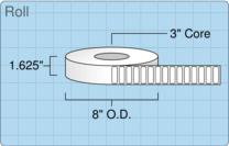 """Roll of 1.5"""" x 0.5""""  Thermal  labels"""