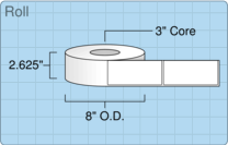 """Roll of 2.5"""" x 5.5""""  Thermal  labels"""