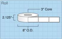 """Roll of 2"""" x 4""""  Thermal  labels"""