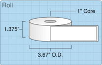 """Roll of 1.25"""" x 4""""  Thermal  labels"""