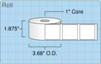 """Roll of 1.75"""" x 1.75""""  Thermal  labels"""