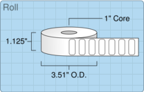 """Roll of 1"""" x 0.4""""  Thermal  labels"""