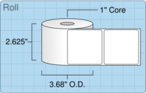 """Roll of 2.5"""" x 2.5""""  Thermal  labels"""