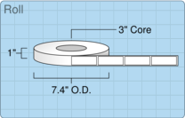 """Roll of 0.875"""" x 2.5""""  Thermal  labels"""
