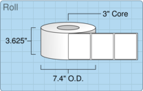 """Roll of 3.5"""" x 3""""  Thermal  labels"""