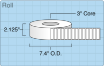 """Roll of 2"""" x 0.5""""  Thermal  labels"""