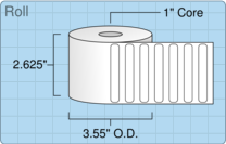 """Roll of 2.5"""" x 0.375""""  Thermal  labels"""