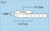 """Roll of 1.5"""" Circle  Thermal  labels"""