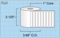"""Roll of 3"""" x 0.375""""  Thermal  labels"""