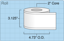"""Roll of 3"""" x 179' Continuous Feed  Inkjet  labels"""