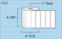 """Roll of 4"""" x 1""""  Thermal  labels"""