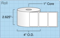 """Roll of 2.5"""" x 1.5""""  Thermal  labels"""