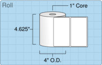 """Roll of 4.5"""" x 2.5""""  Thermal  labels"""