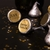 """0.75"""" small gold foil laser labels on the bottom of Hershey's Kisses for a wedding"""