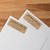 """2.62"""" x 1"""" standard address label size in brown kraft, printed and placed on a white mailing envelope"""