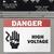 High Voltage safety sticker on machinery.