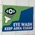 Eye wash safety sticker on a wall.