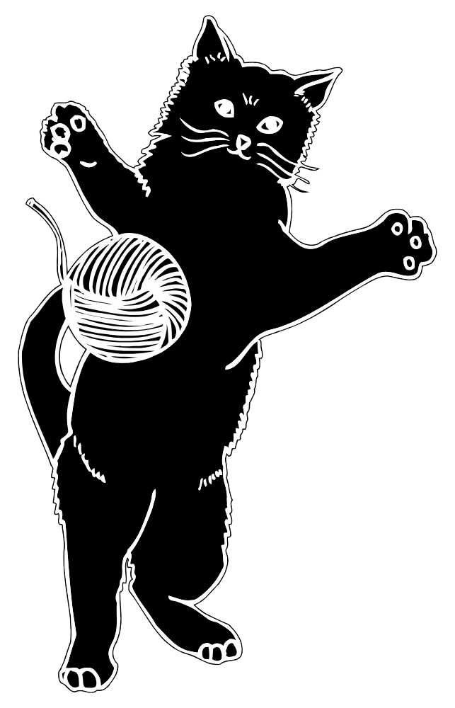 Download OnlineLabels Clip Art - Cat Playing With Ball Of Yarn ...