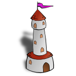 RPG map symbols Round Tower with Flag