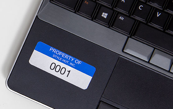 Asset tag labels in use.