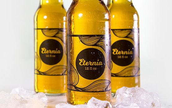 Beer bottle labels in use