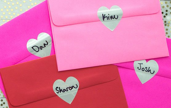 Heart shaped labels in use