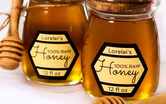 Honey jar labels in use