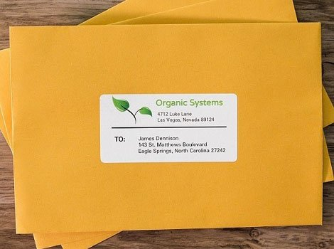 Mailing labels in use