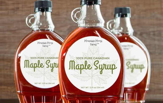 Maple syrup labels in use