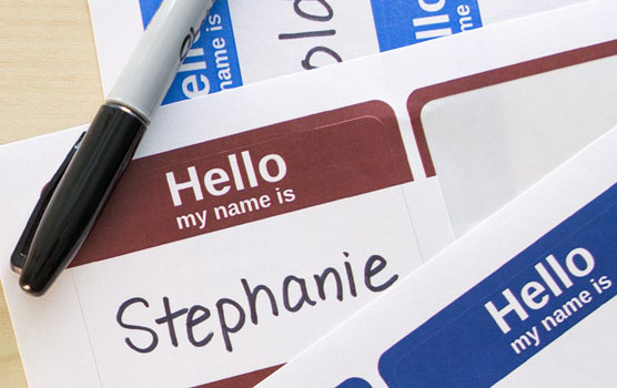 Name tag labels in action.