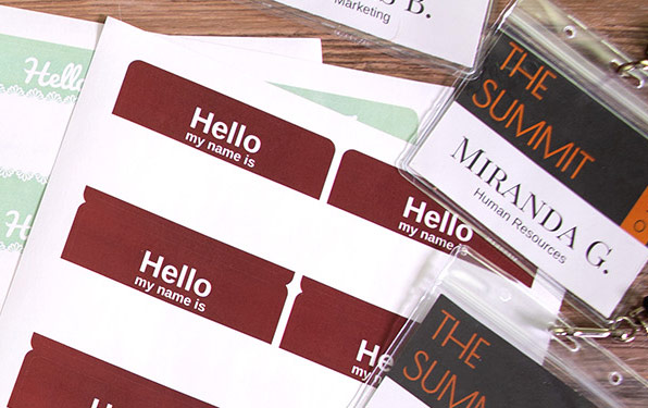 Name Tag Labels & Inserts