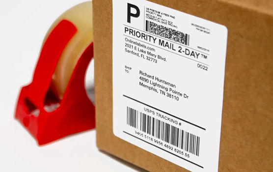 Postage labels in use