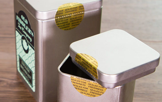 Perforated labels in use