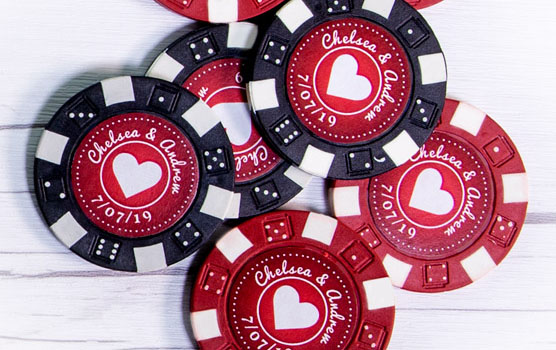 Poker chip labels in use