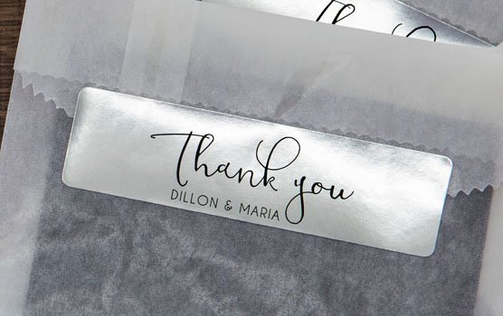 Silver foil laser labels in use