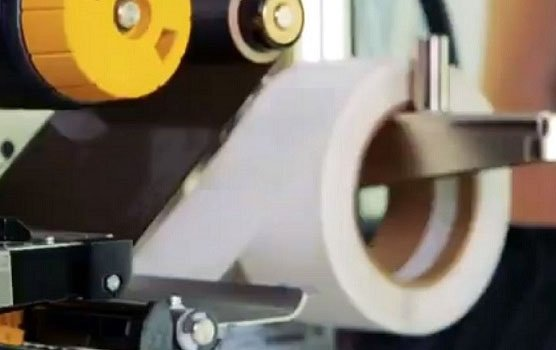 Standard white matte thermal transfer roll label in use