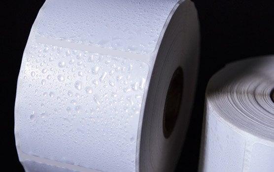 Weatherproof white gloss inkjet roll labels in use