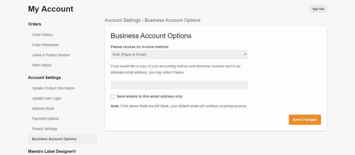 Update invoice method page
