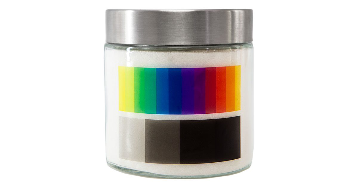 Color gradient printed on clear label against white