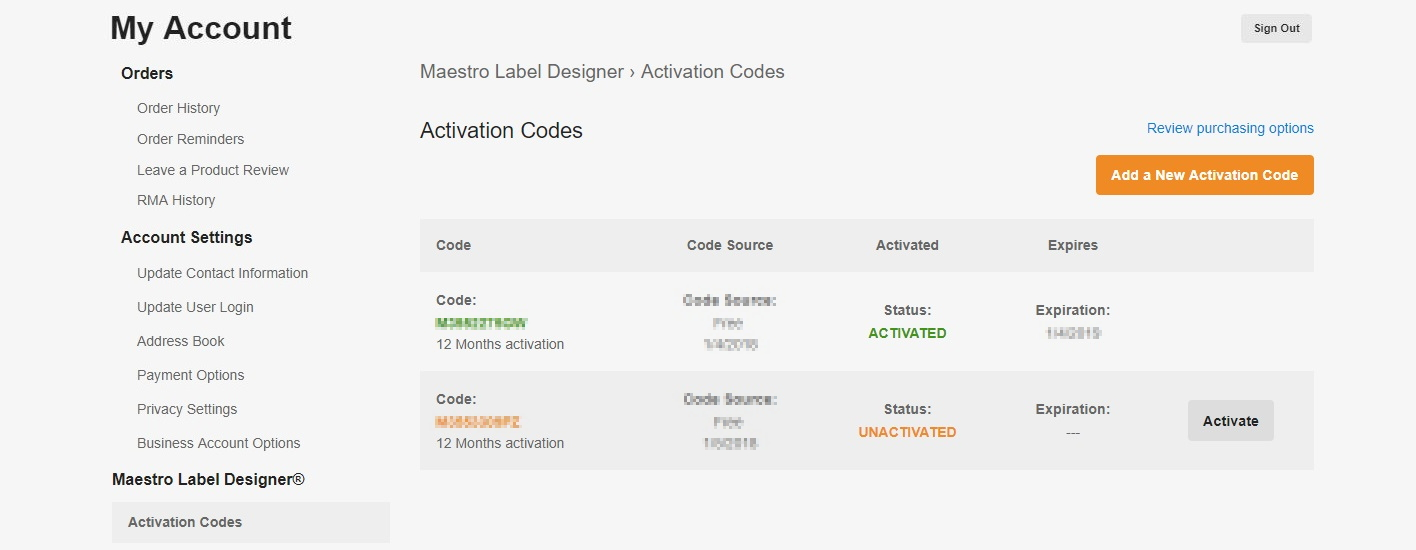 Maestro Label Designer activation codes within My Account