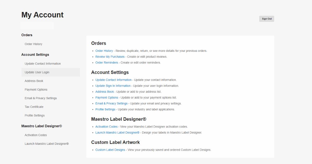 Account Options menu