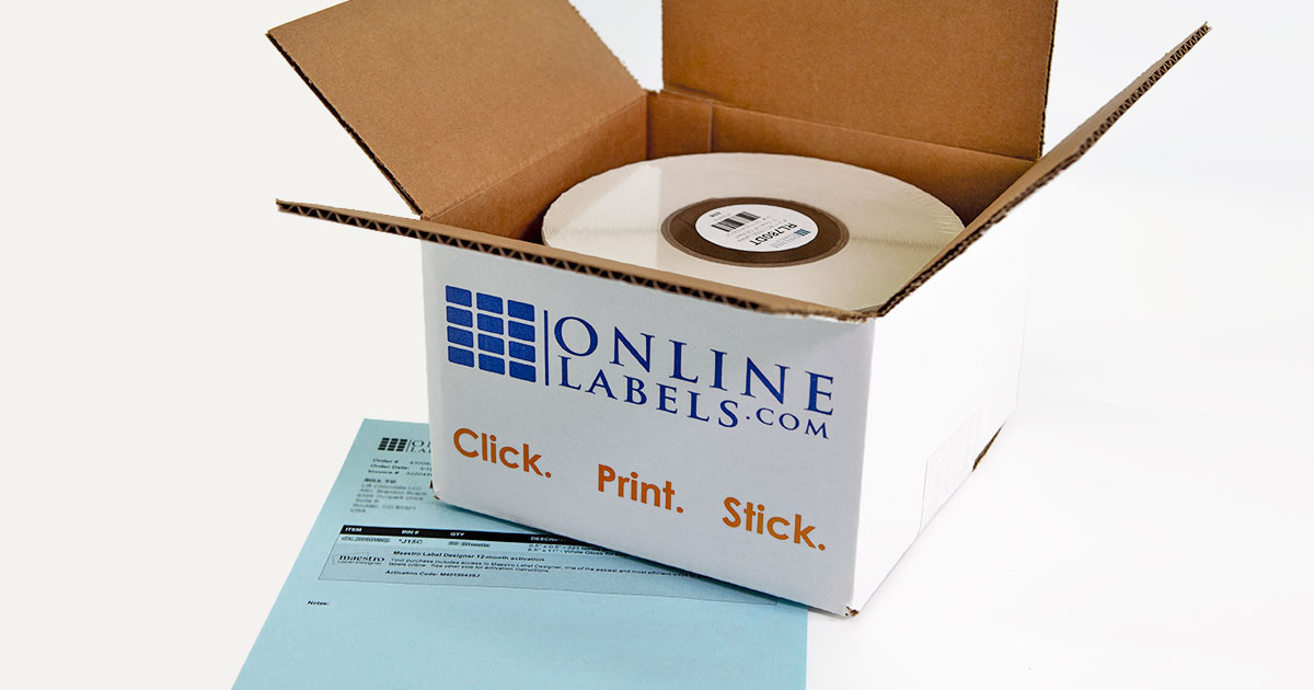 Box for small/small quantity roll labels from OnlineLabels.com
