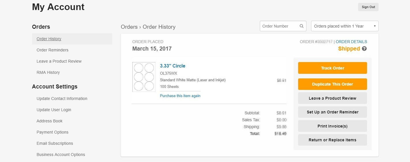 Order history button with tracking