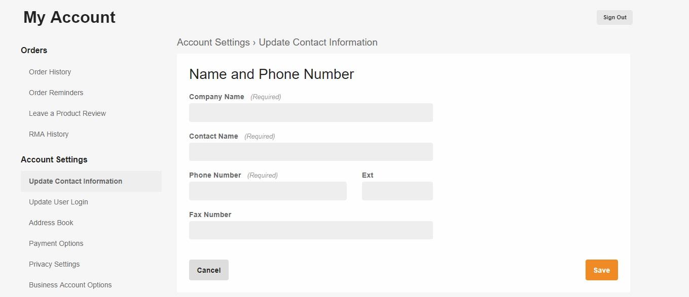 Update contact information screen